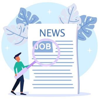Personaje de dibujos animados gráfico de vector de ilustración de vacante de trabajo