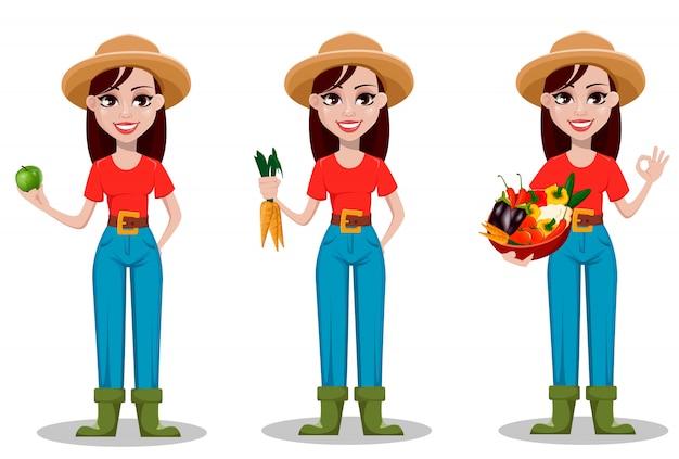 Personaje de dibujos animados de granjera