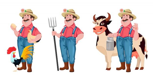 Personaje de dibujos animados de granjero, conjunto de tres poses