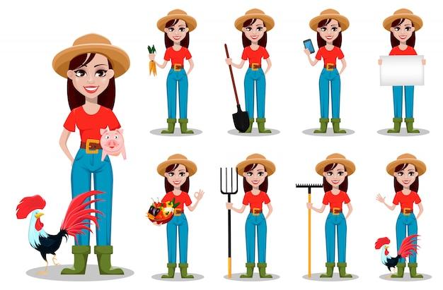 Personaje de dibujos animados de granjero de sexo femenino