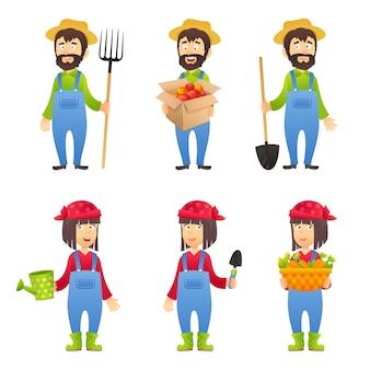 Personaje de dibujos animados de granjero