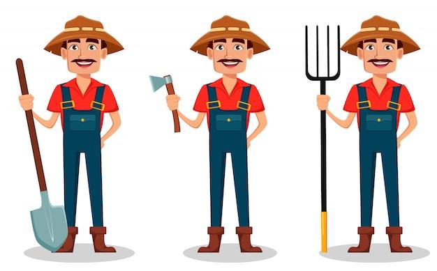 Personaje de dibujos animados del granjero