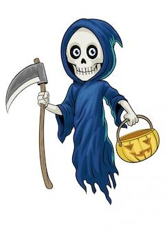 Personaje de dibujos animados de grim reaper sostener la calabaza de halloween