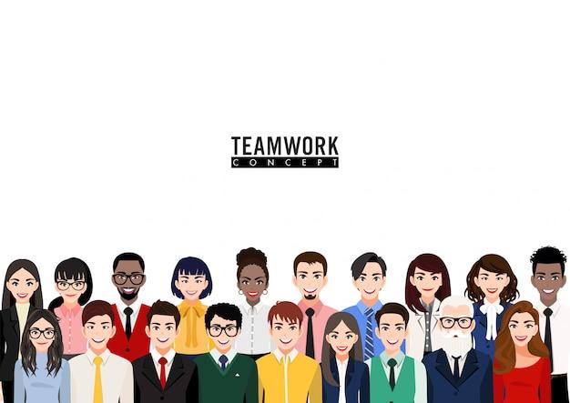 Personaje de dibujos animados con grupo de personas de negocios. equipo de trabajadores, diversas personas de pie juntos y compañeros de trabajo en icono plano casual y traje