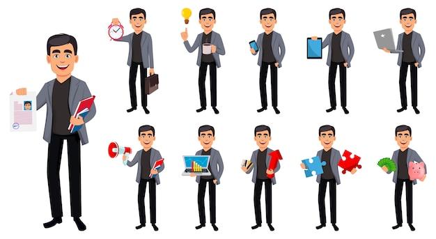 Personaje de dibujos animados guapo hombre de negocios
