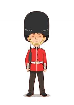 Personaje de dibujos animados de la guardia real británica en uniforme tradicional