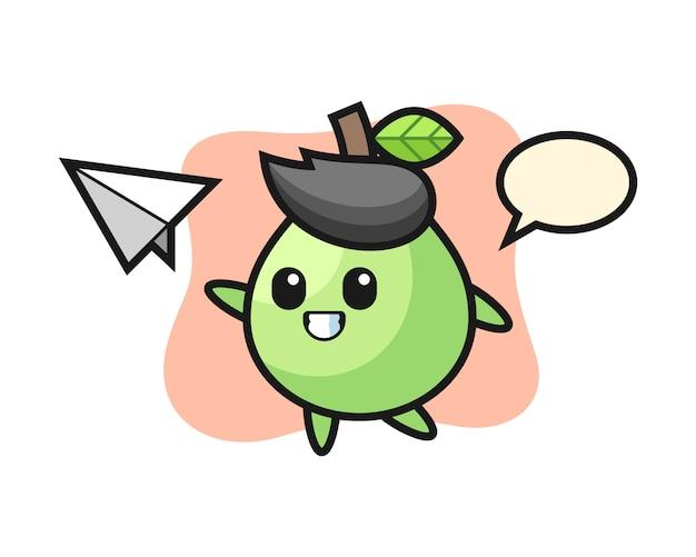 Personaje de dibujos animados de guayaba lanzando avión de papel, estilo lindo para camiseta, pegatina, elemento de logotipo
