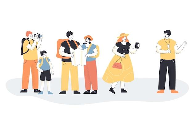 Personaje de dibujos animados de guía turístico contando a los turistas sobre la ciudad