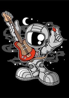 Personaje de dibujos animados de guitarra astronauta
