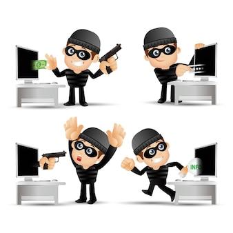 Personaje de dibujos animados de hacker y ladrón