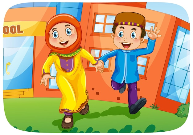 Personaje de dibujos animados de hermana y hermano musulmán
