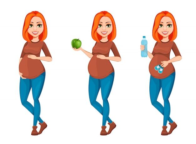 Personaje de dibujos animados hermosa mujer embarazada