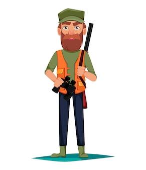 Personaje de dibujos animados de hombre cazador