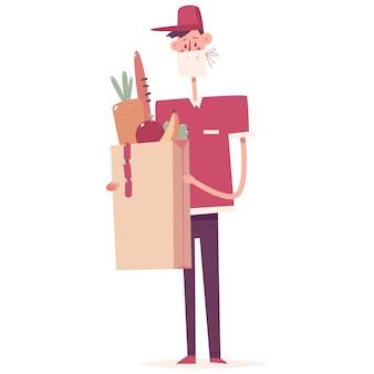 Personaje de dibujos animados de hombre de entrega de alimentos seguros
