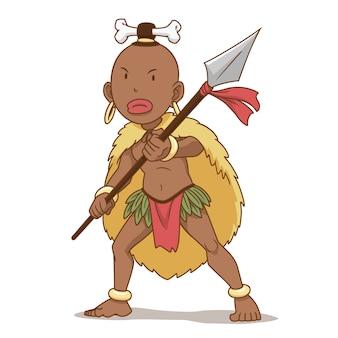 Personaje de dibujos animados del hombre indígena de áfrica con lanza.