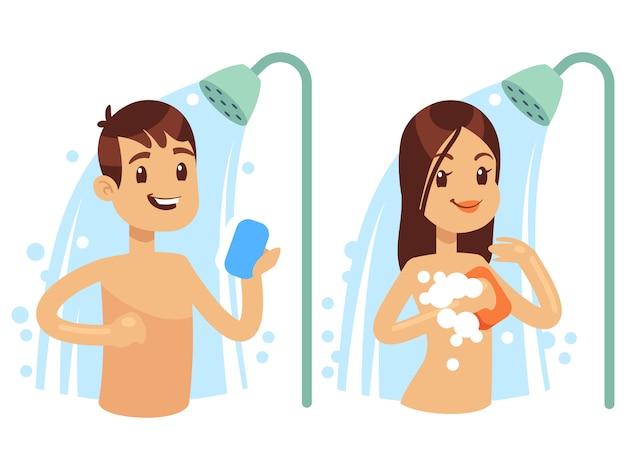 Personaje de dibujos animados hombre y mujer tomando una ducha