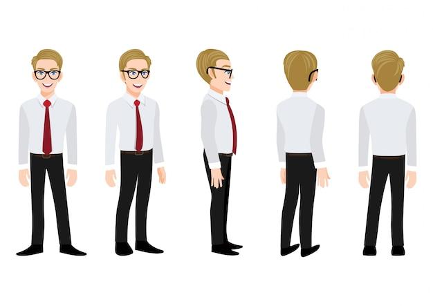 Personaje de dibujos animados con hombre de negocios en una camisa inteligente para animación. anverso, lateral, posterior, personaje animado de 3-4 vistas. ilustración de vector plano