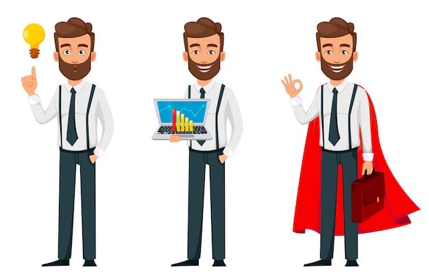 Personaje de dibujos animados de hombre de negocios, conjunto de tres poses