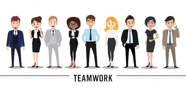 Personaje de dibujos animados con el hombre de negocios y la mujer de negocios, ejemplo del concepto del trabajo en equipo.