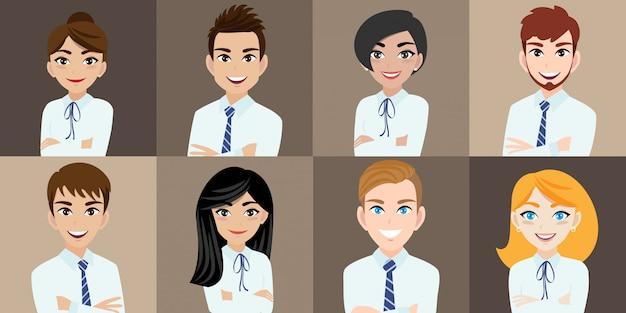 Personaje de dibujos animados con hombre de negocios y mujer de negocios
