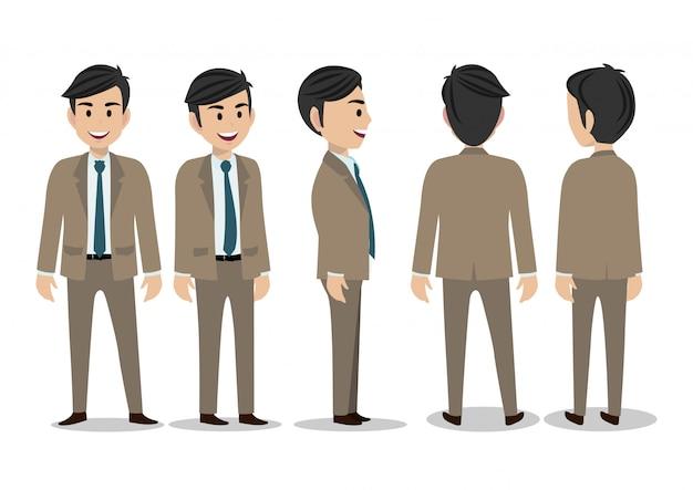 Personaje de dibujos animados con hombre de negocios en traje para la animación