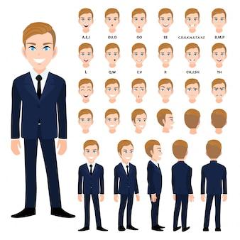 Personaje de dibujos animados con hombre de negocios en traje de animación.