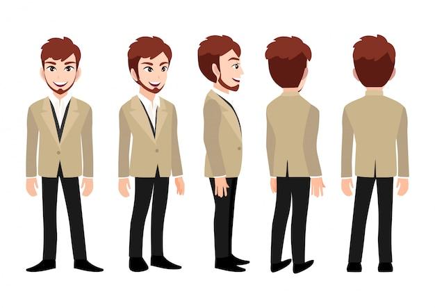 Personaje de dibujos animados con hombre de negocios.