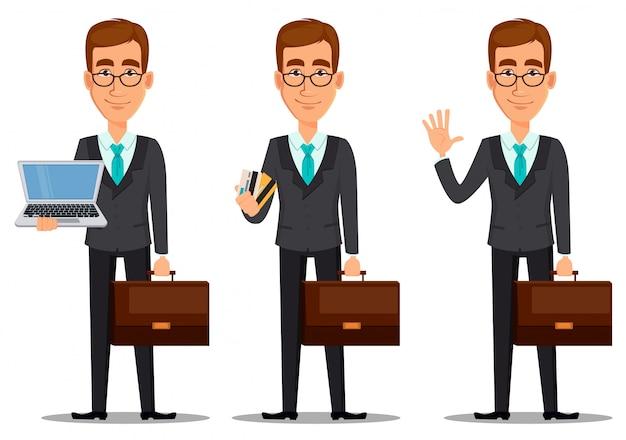 Personaje de dibujos animados de hombre de negocios