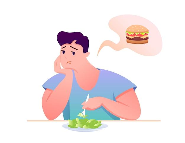 Personaje de dibujos animados hombre sentado en la mesa, comiendo comida sana de dieta, soñando con hamburguesa poco saludable