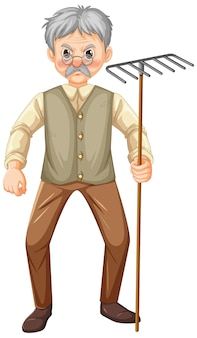 Personaje de dibujos animados de hombre viejo granjero con herramienta de jardín rastrillo