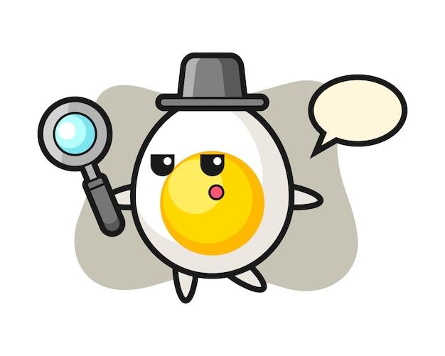 Personaje de dibujos animados de huevo cocido buscando con una lupa