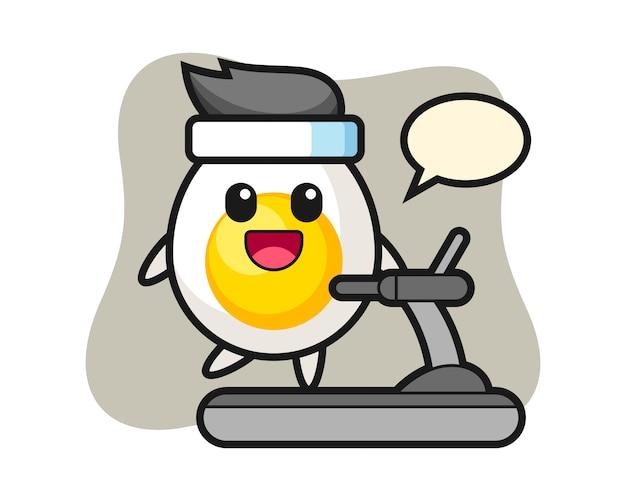 Personaje de dibujos animados de huevo cocido caminando sobre la cinta