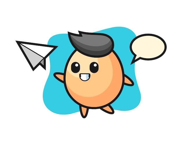 Personaje de dibujos animados de huevo lanzando avión de papel, diseño de estilo lindo para camiseta, pegatina, elemento de logotipo