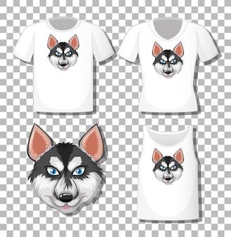 Personaje de dibujos animados de husky siberiano con un conjunto de diferentes camisetas aislado sobre fondo blanco.