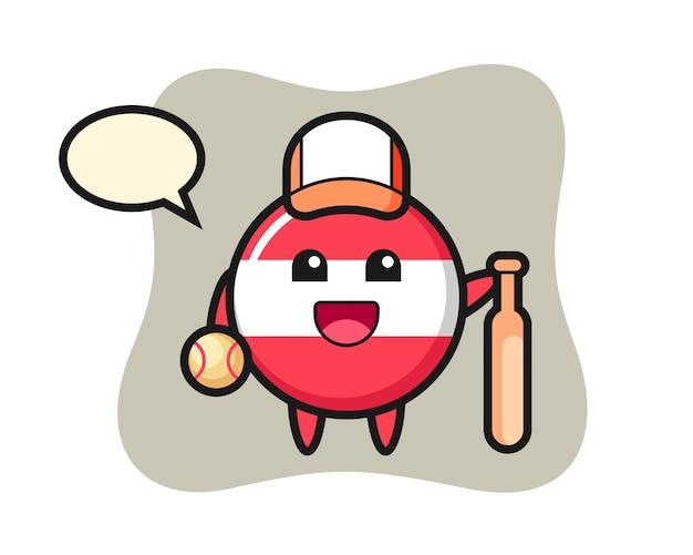 Personaje de dibujos animados de la insignia de la bandera de austria como jugador de béisbol