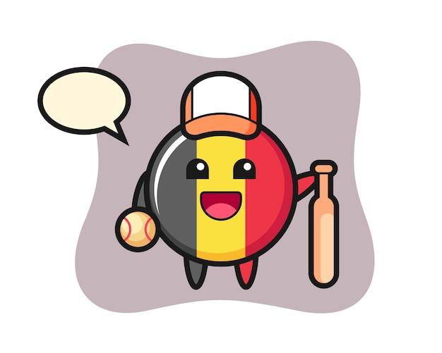 Personaje de dibujos animados de la insignia de la bandera de bélgica como jugador de béisbol