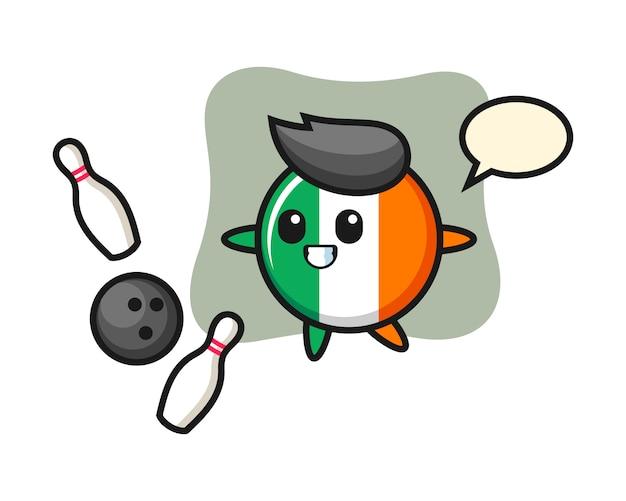 Personaje de dibujos animados de la insignia de la bandera de irlanda está jugando a los bolos
