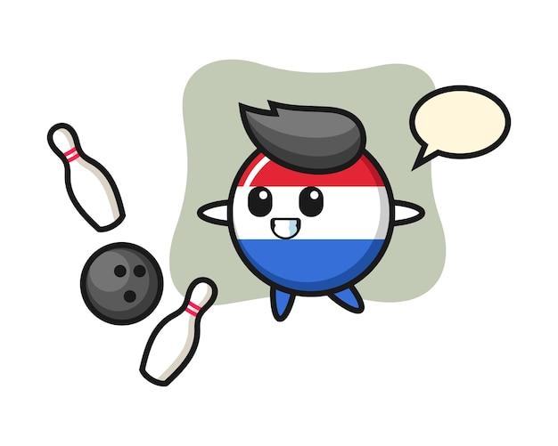 Personaje de dibujos animados de la insignia de la bandera de países bajos está jugando a los bolos