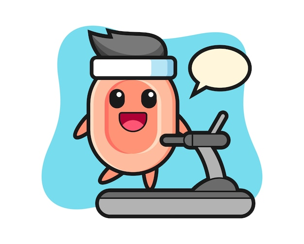Personaje de dibujos animados de jabón caminando en la cinta de correr, estilo lindo para camiseta, pegatina, elemento de logotipo