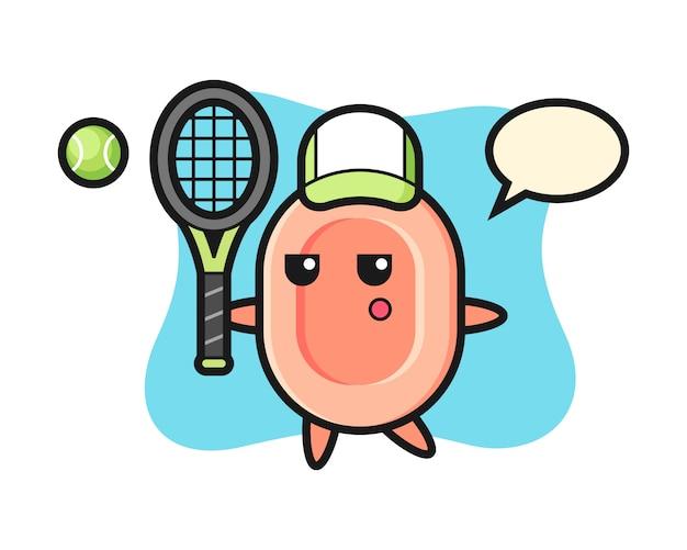Personaje de dibujos animados de jabón como jugador de tenis, estilo lindo para camiseta, pegatina, elemento de logotipo