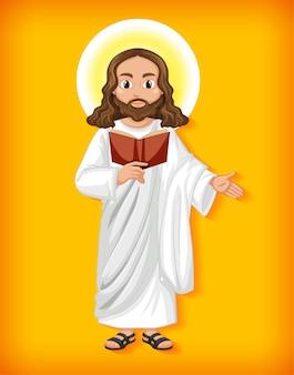 Personaje de dibujos animados de jesús aislado