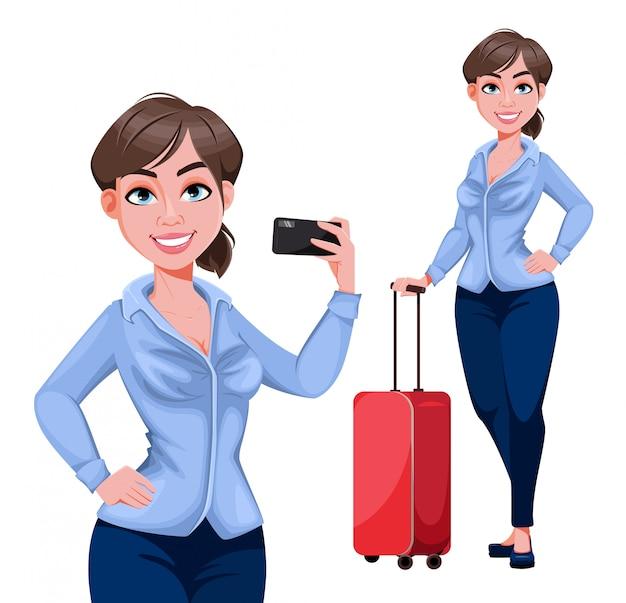 Personaje de dibujos animados joven hermosa mujer de negocios