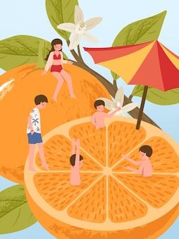 Personaje de dibujos animados de jóvenes en frutas frescas de naranja durante las vacaciones de verano disfrutando con un amigo