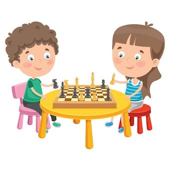 Personaje de dibujos animados jugando ajedrez