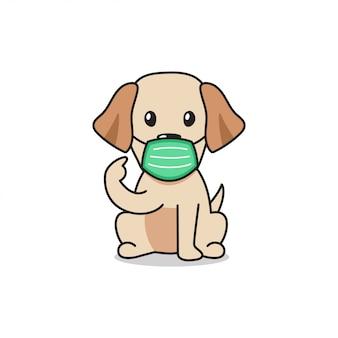 Personaje de dibujos animados labrador retriever perro con mascarilla protectora