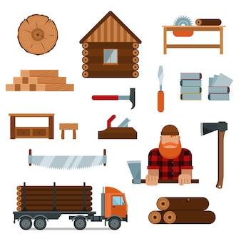 Personaje de dibujos animados de leñador con elementos de herramientas de leñador ilustración vectorial
