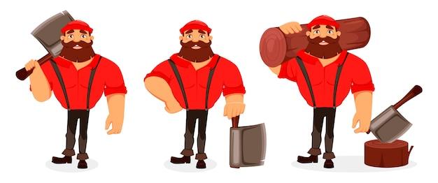 Personaje de dibujos animados de leñador