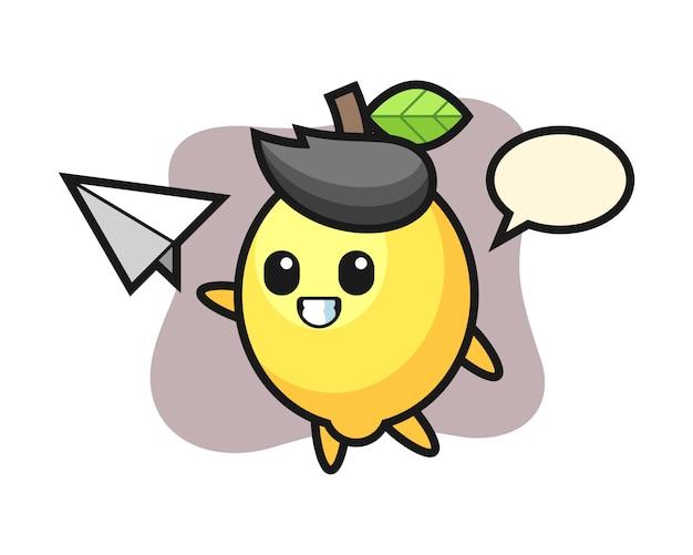 Personaje de dibujos animados de limón lanzando aviones de papel