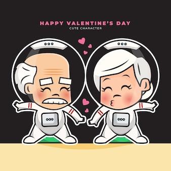 Personaje de dibujos animados lindo de astronautas de pareja de ancianos felices saludos de san valentín
