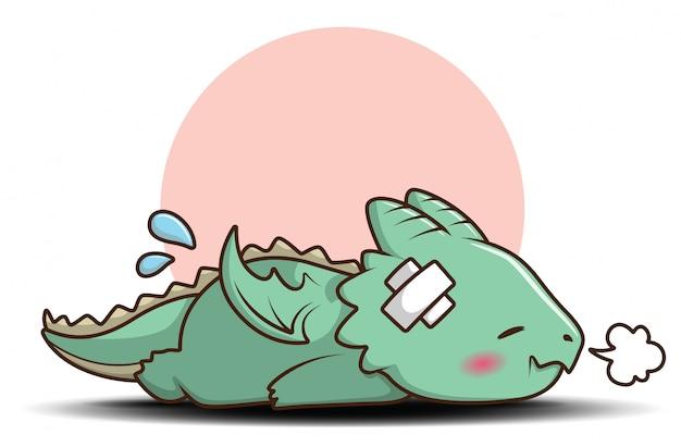 Personaje de dibujos animados lindo bebé dragón., concepto de dibujos animados de cuento de hadas.